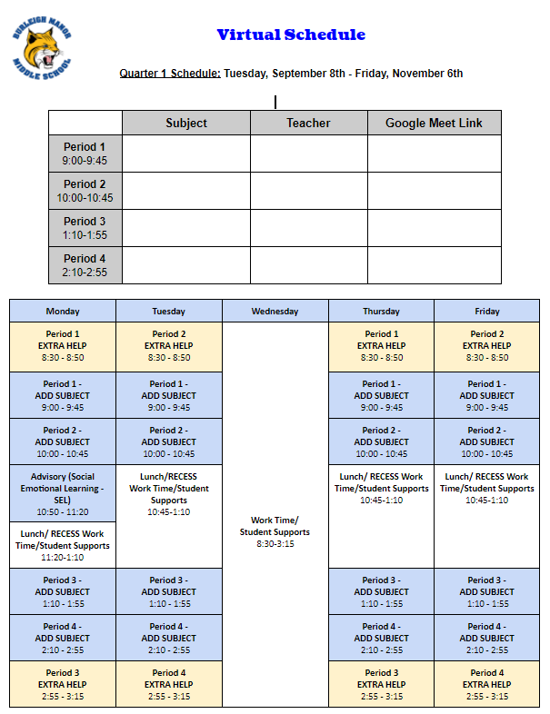 Student Sample Schedule